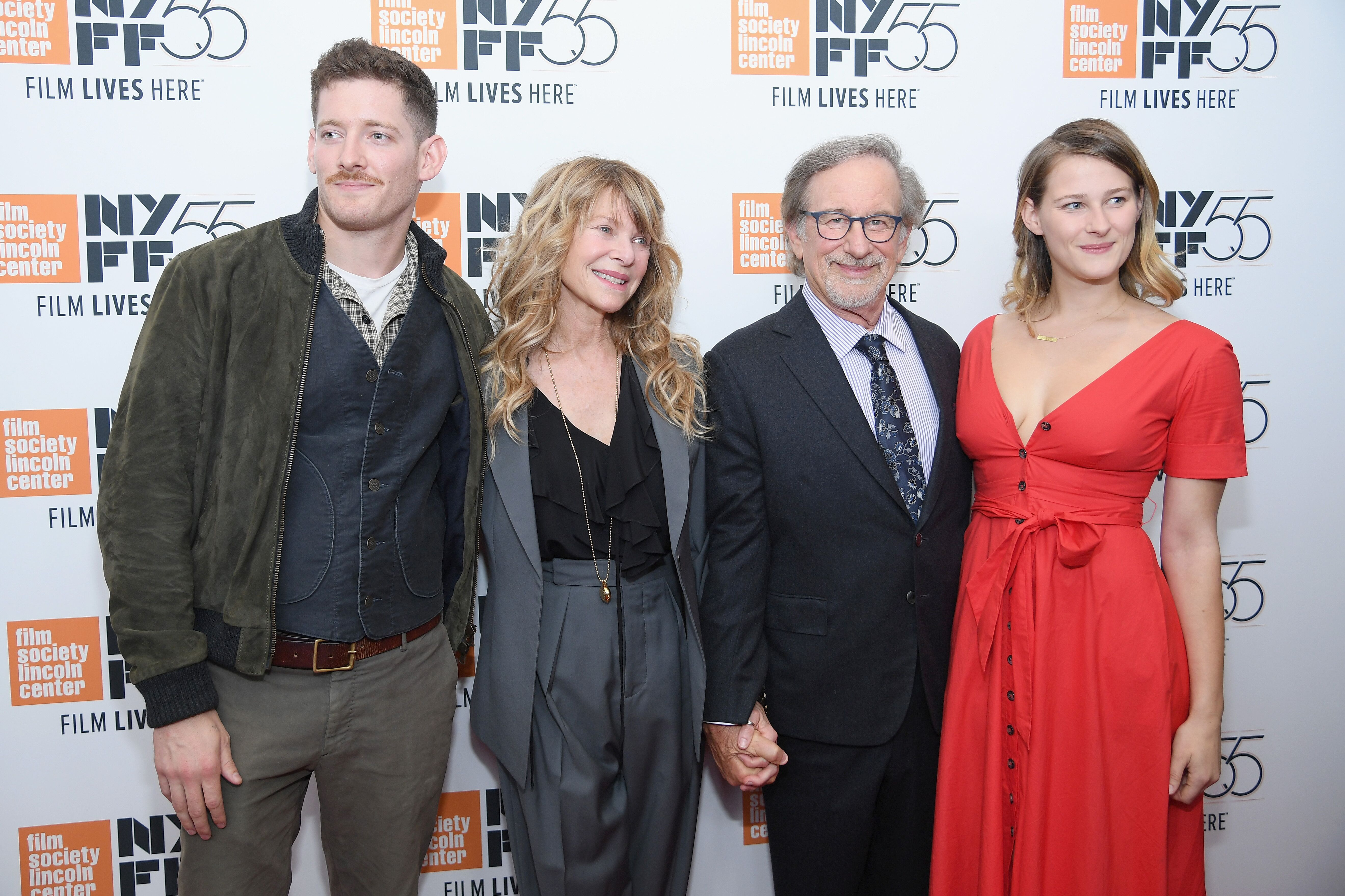 "Sawyer Avery Spielberg, Kate Capshaw, Steven Spielberg and Destry Allyn Spielberg attend 55th New York Film Festival screening of ""Spielberg."" 