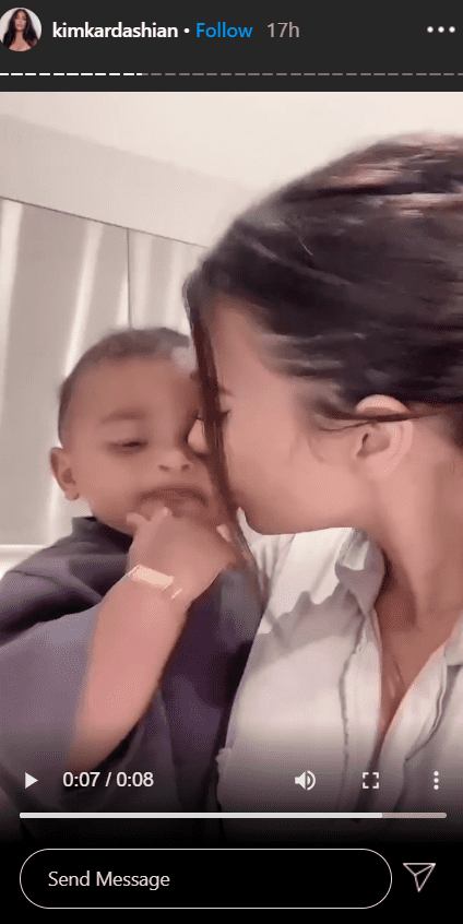 Kim Kardashian carrying her son, Psalm West in a video posted on her Instagram Story. | Photo: Instagram.com/kimkardashian