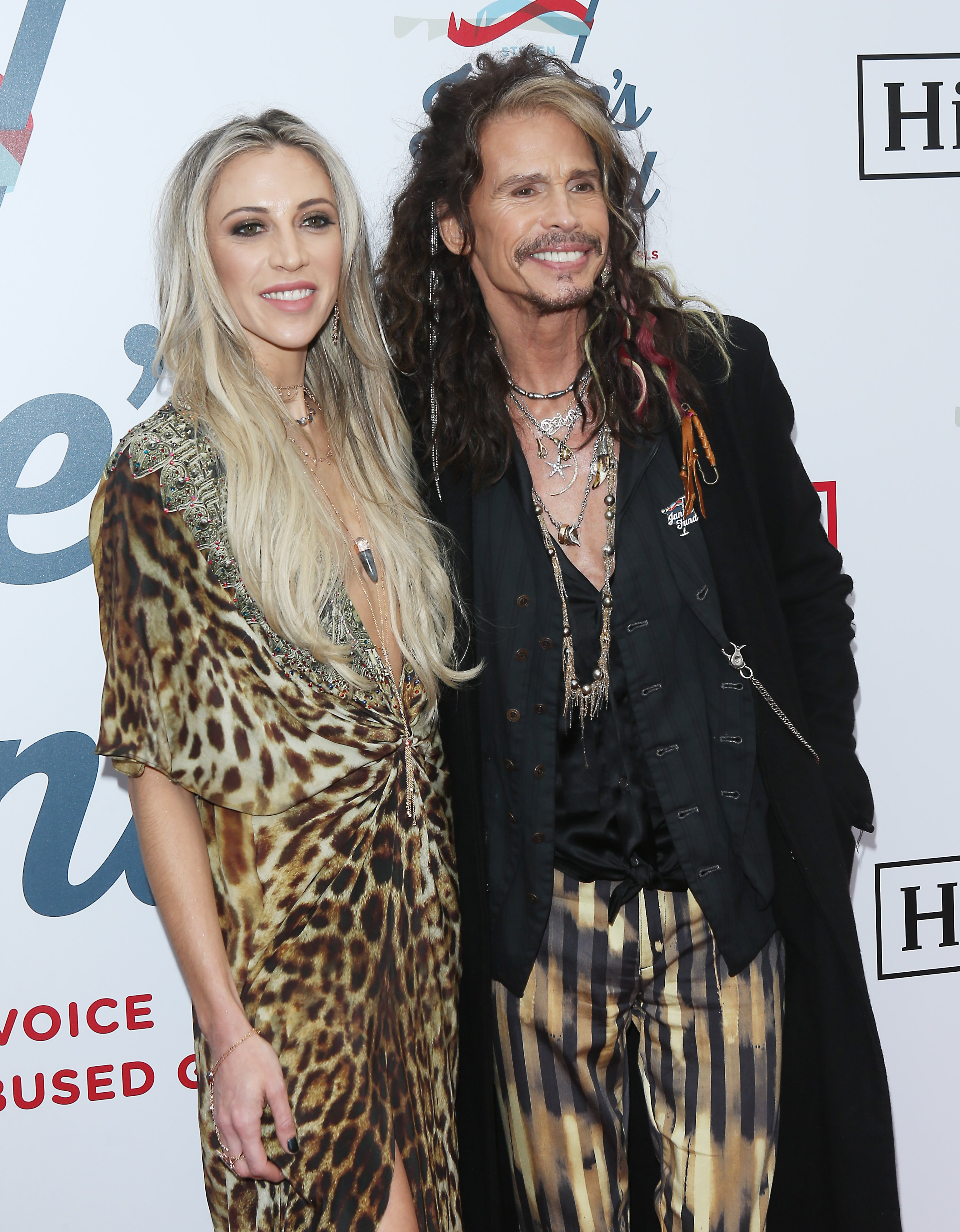 Steven Tyler and Aimee Preston attend Steven Tyler's GRAMMY Awards viewing party benefiting Janie's Fund held at Raleigh Studios on February 10, 2019, in Los Angeles, California. | Source: Getty Images.