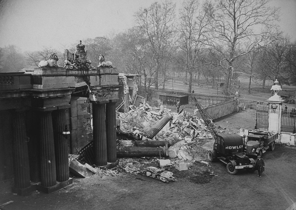 Image Credits: Getty Images/ The North Lodge of Buckingham Palace, damaged during an air raid on London