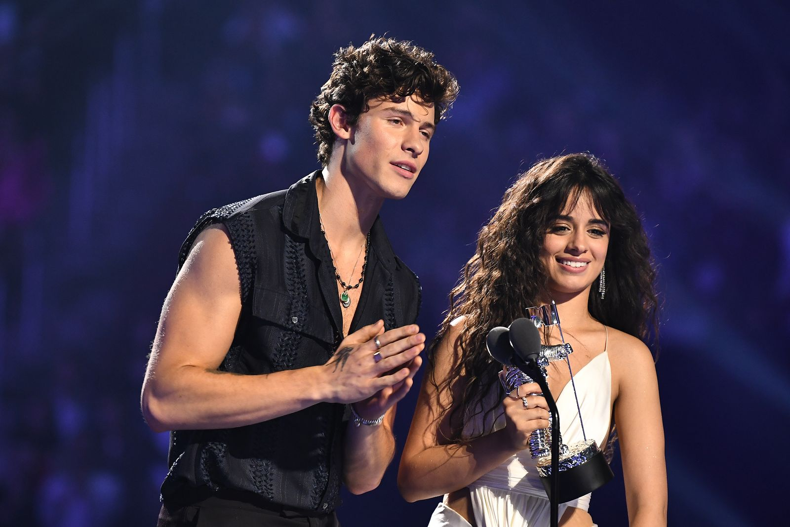 Shawn Mendes and Camila Cabello receive 'Best Collaboration' award onstage at the 2019 MTV Video Music Awards at Prudential Center on August 26, 2019   Photo: Getty Images