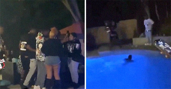 Partygoers throw a man into the pool because he asked them to turn down their music   Photo: Reddit