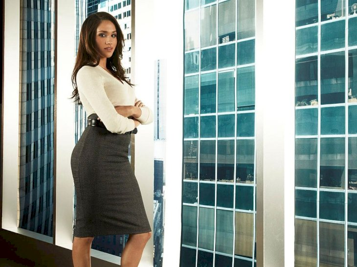 Actress Meghan Markle on the set of