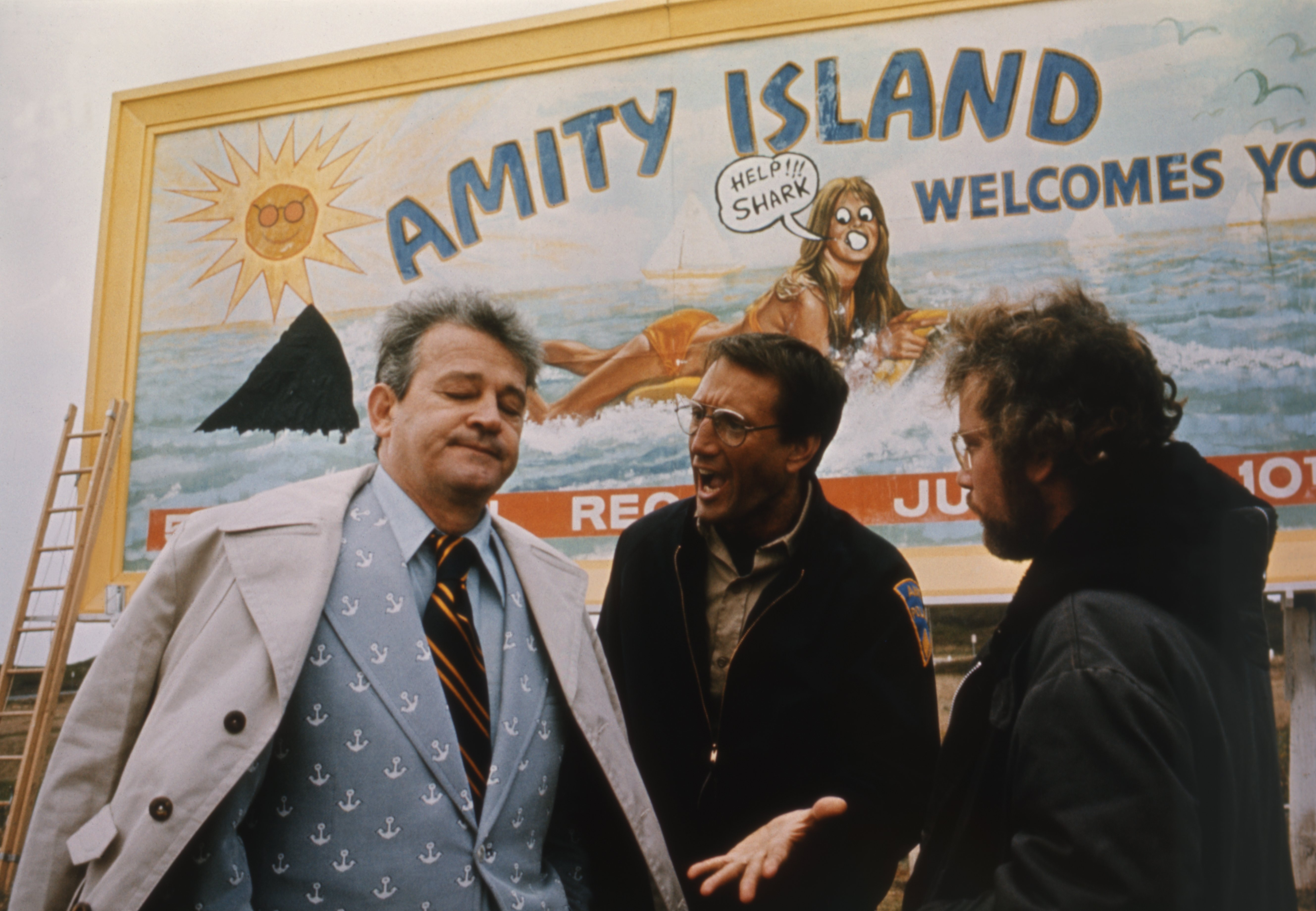 American actors Murray Hamilton, Roy Scheider, and Richard Dreyfuss on the set of Jaws, directed by Steven Spielberg   Photo: Getty Images