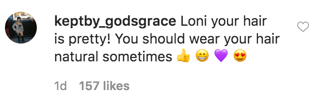A fan commented on Loni Love's picture of her showing off her natural hair amid coronavirus quarantine | Source: Instagram.com/comiclonilove