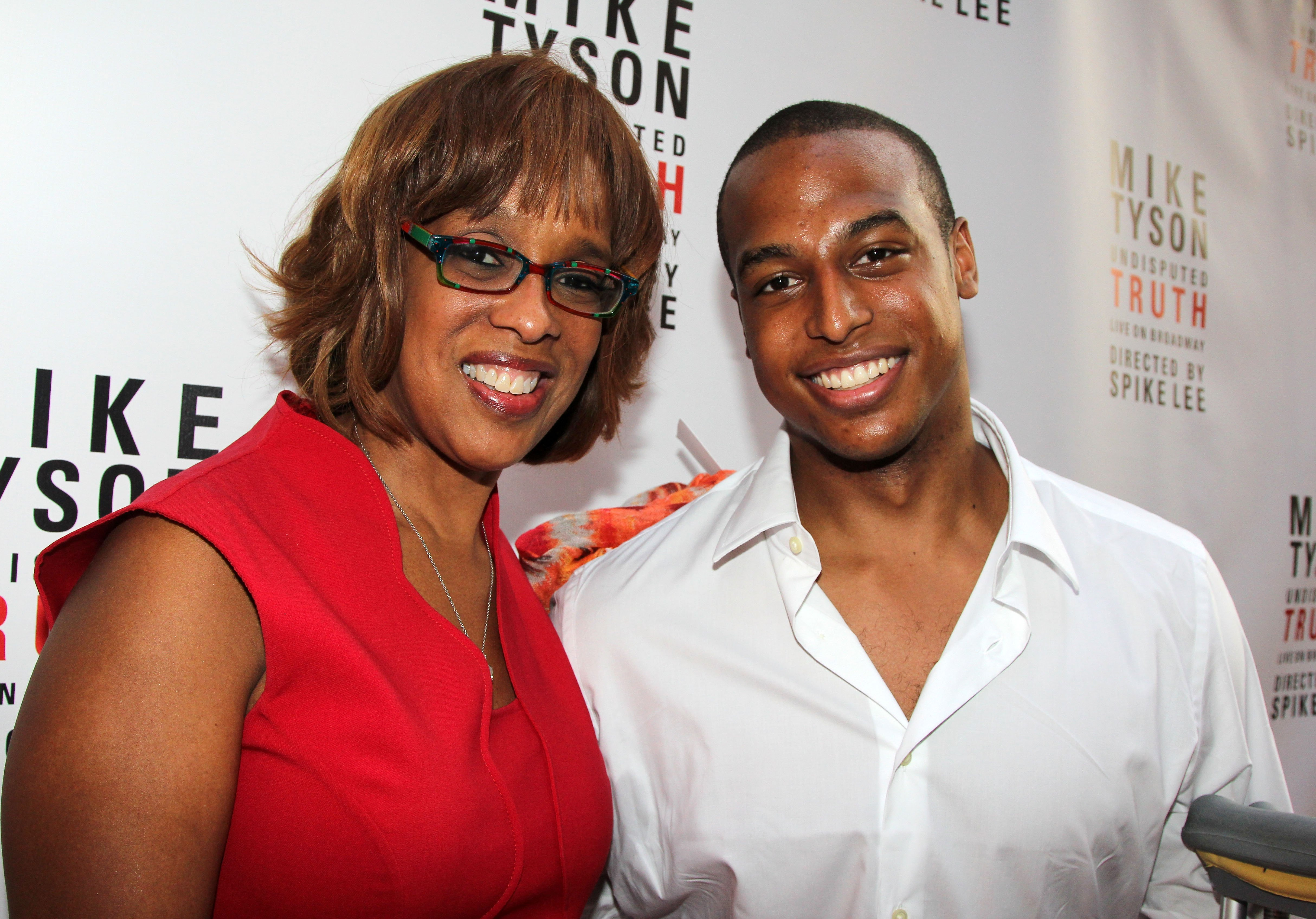 "Gayle King and her son Will Bumpus attend the Broadway opening night for ""Mike Tyson: Undisputed Truth"" at the Longacre Theatre on August 2, 2012 in New York City 