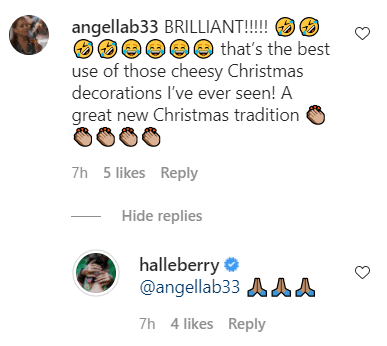 A fan's comment and Halle Berry's reply on her post of elves on a shelf. | Photo: Instagram/Halleberry