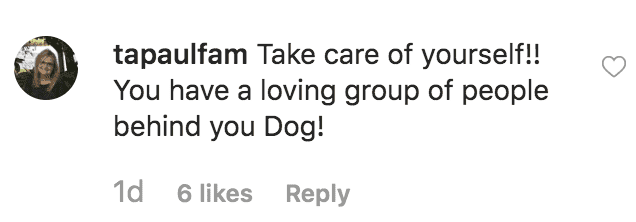 "Fans sends a message of support to Duane ""Dog"" Chapman in response to a picture of himself sitting alone in a forest 