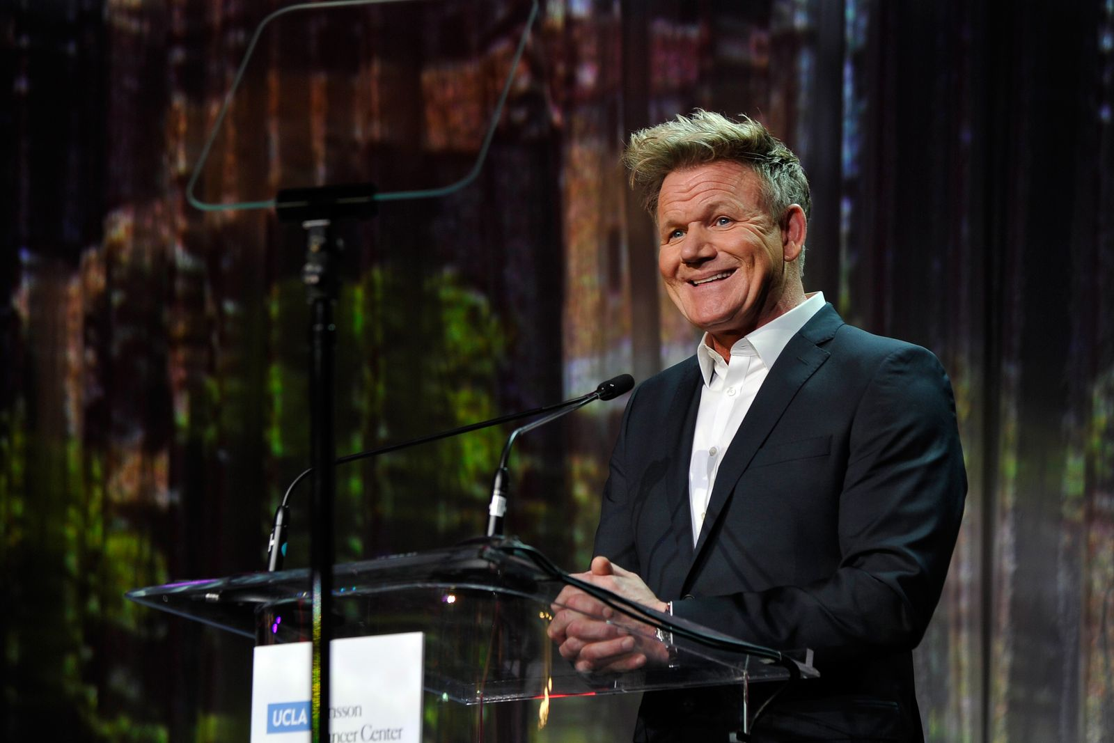 "Gordon Ramsay speaks during UCLA Jonsson Cancer Center Foundation Hosts 23rd Annual ""Taste for a Cure"" Event on April 27, 2018 