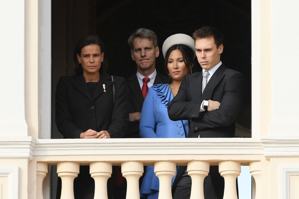 Princess Stephanie of Monaco, Marie Chevallier and Louis Ducruet pose at the Palace balcony during the Monaco National Day Celebrations. | Source: Getty Images