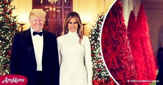 Donald and Melania Trump's Christmas card has fans wondering where the 'blood trees' are