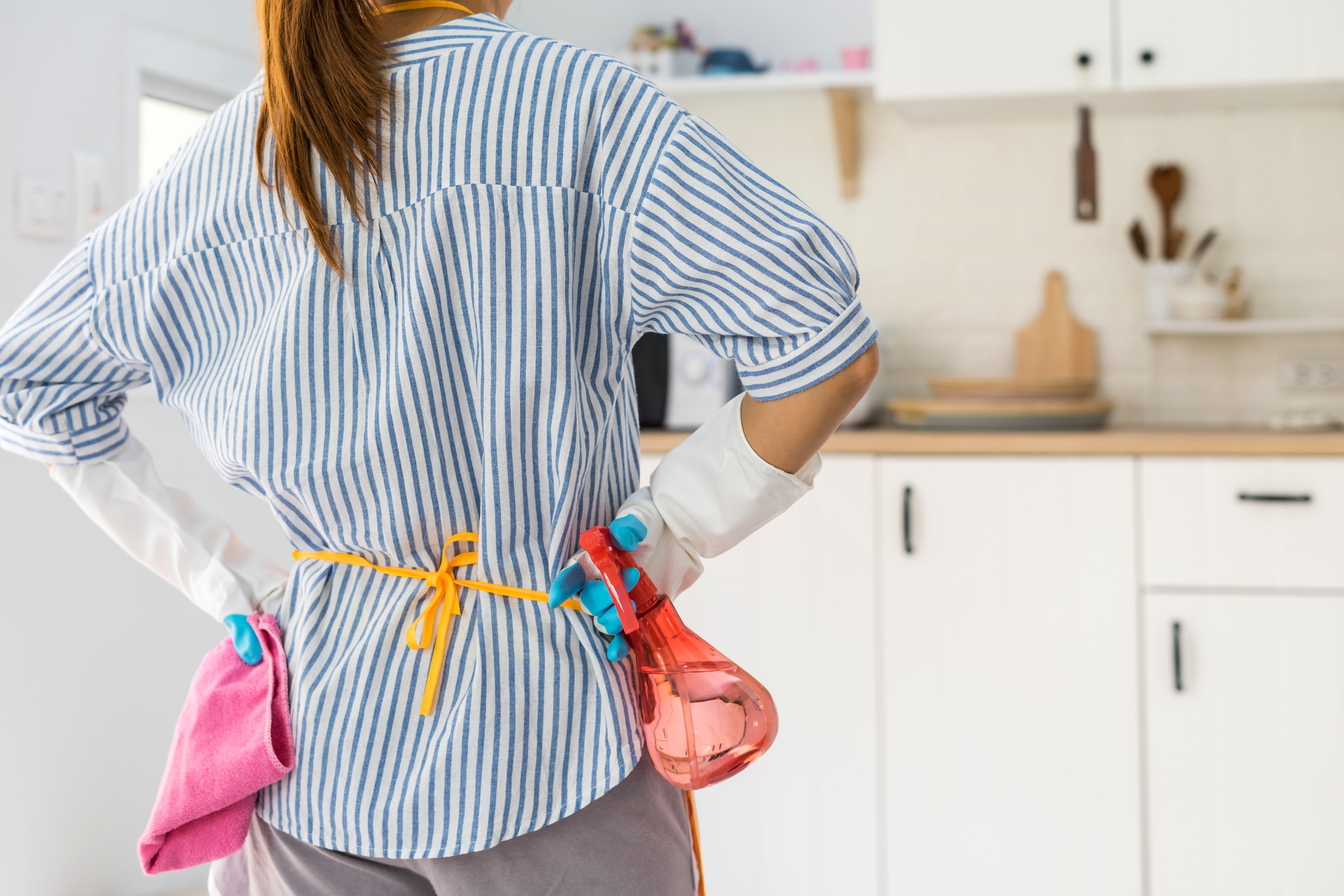 Young woman stands in her kitchen with cleaning supplies | Photo: Shutterstock