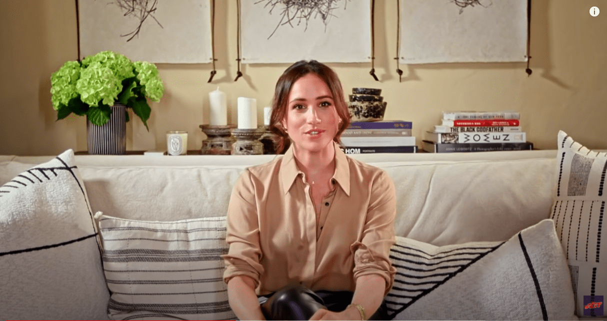 Meghan Markle delivering a warm message to Archie Williams from her home: Photo: YouTube/TODAY