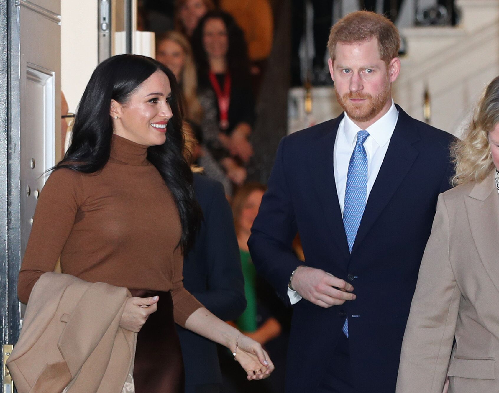 Duchess Meghan and Prince Harry visit Canada House, central London. | Source: Getty Images