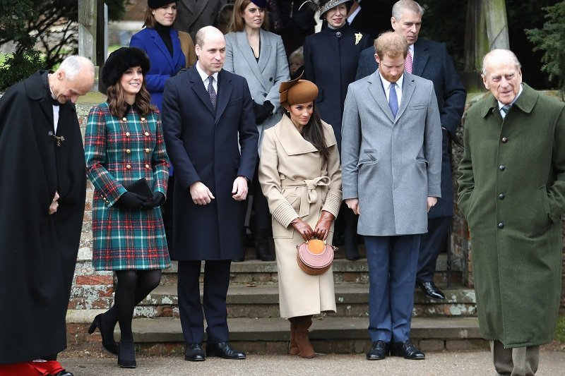 Prince Philip and several members of his family on December 25, 2017 in King's Lynn, England | Photo: Getty Images