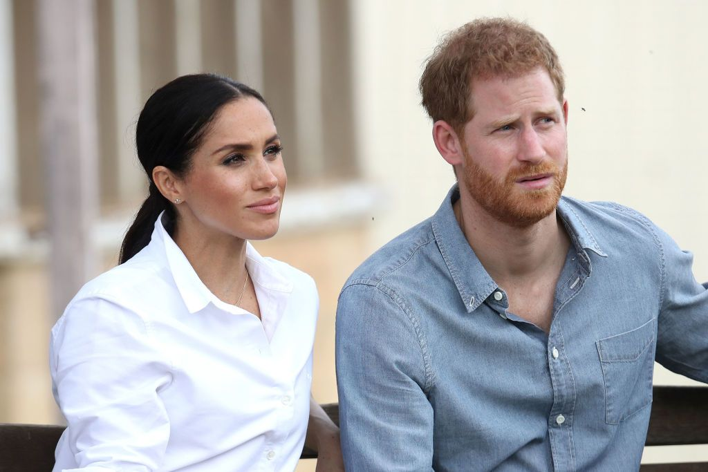 Meghan Markle and Prince Harry at a local farming family, the Woodleys, on October 17, 2018. | Getty Images