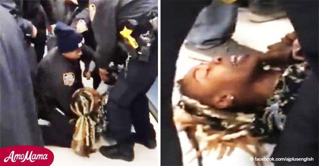 Policía usa la fuerza contra madre y arranca a bebé de 1 año de sus brazos en violenta disputa