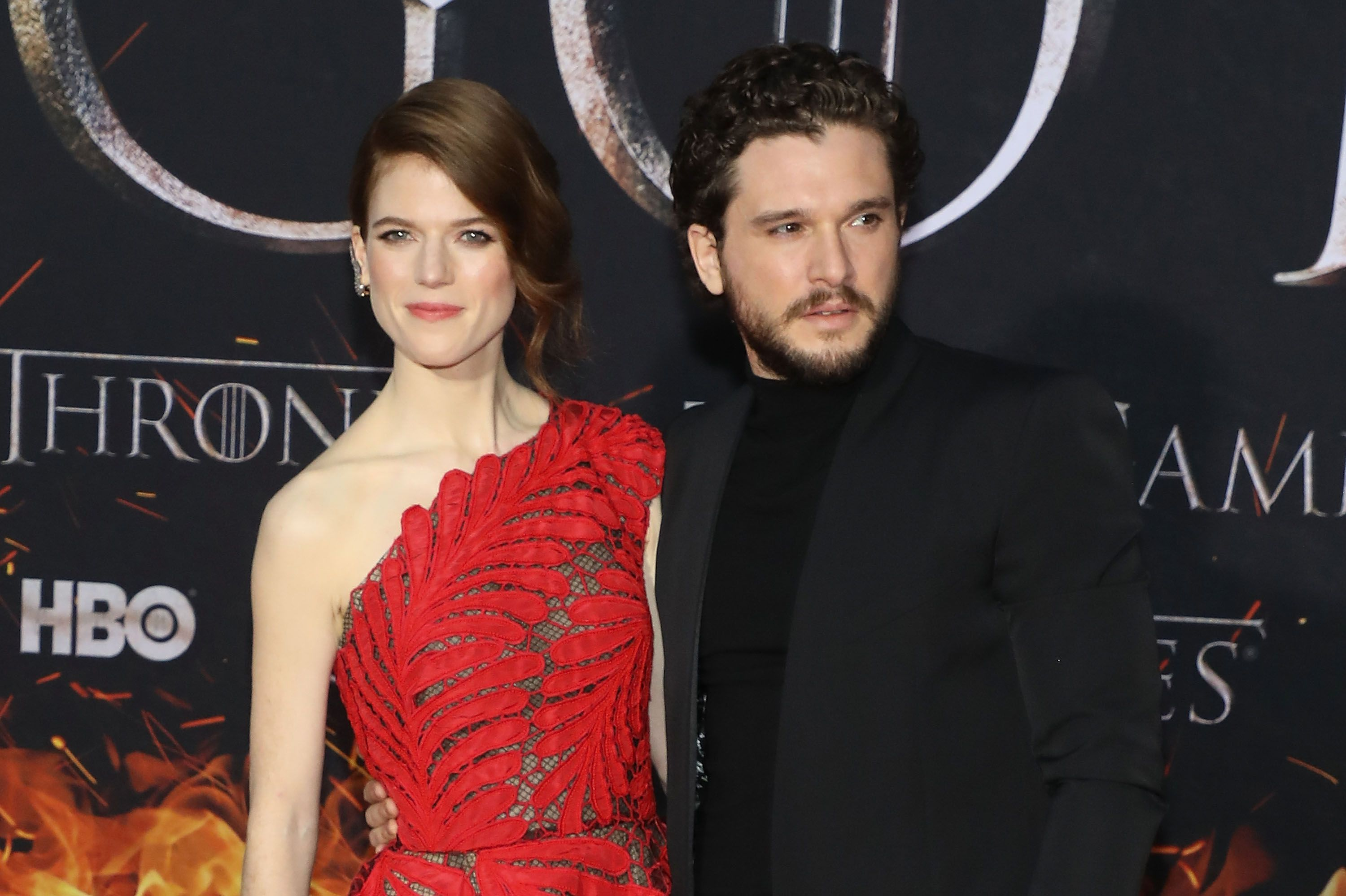 "Rose Leslie and Kit Harington at the Season 8 premiere of ""Game of Thrones"" at Radio City Music Hall on April 3, 2019 