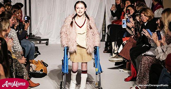 Poderoso instante en que niña con parálisis cerebral que ya ni podía caminar desfiló en pasarela