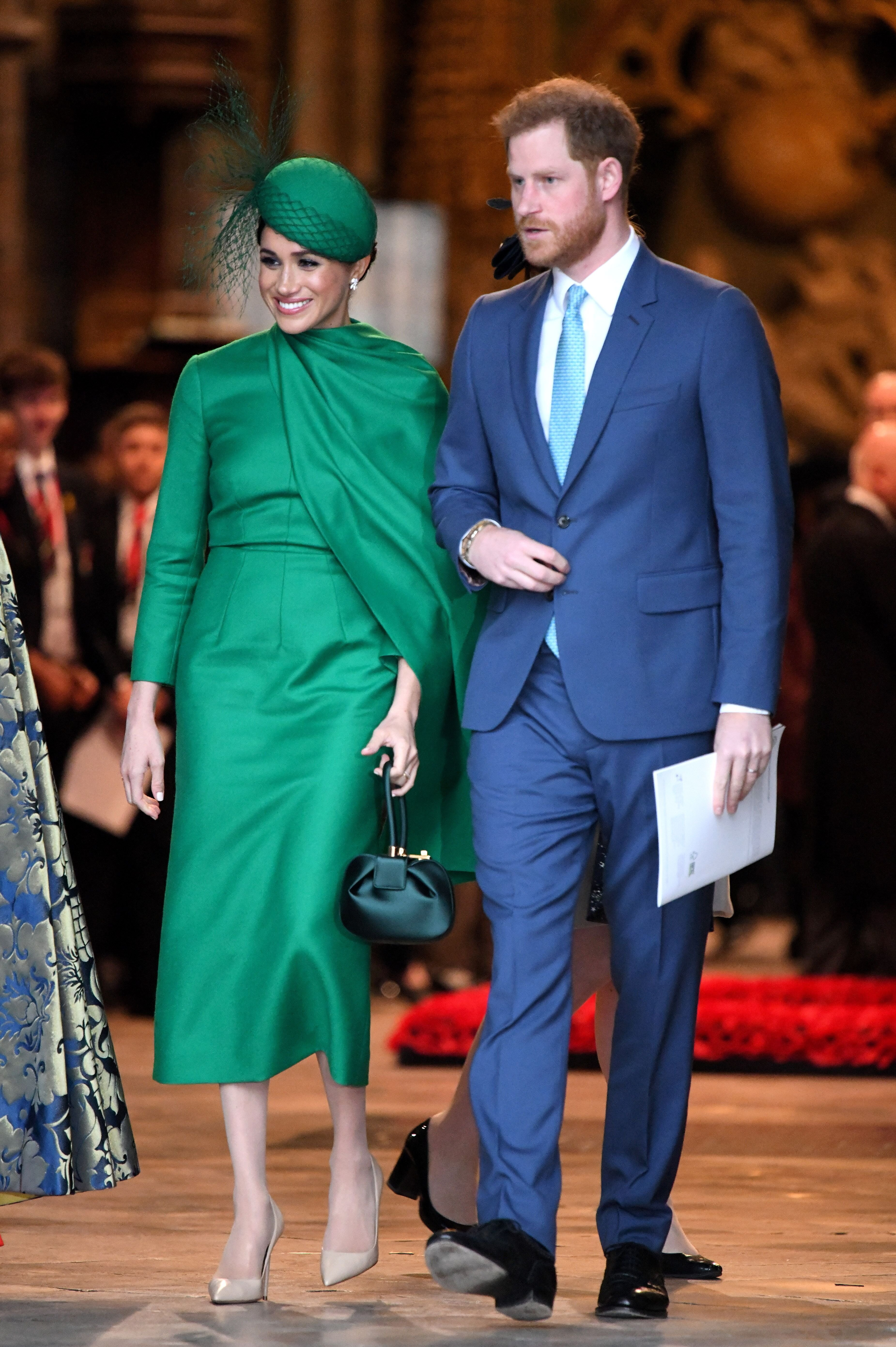 Duchess Meghan and Prince Harry depart after attending the Commonwealth Day Service at Westminster Abbey on March 09, 2020, in London, England | Photo: Getty Images