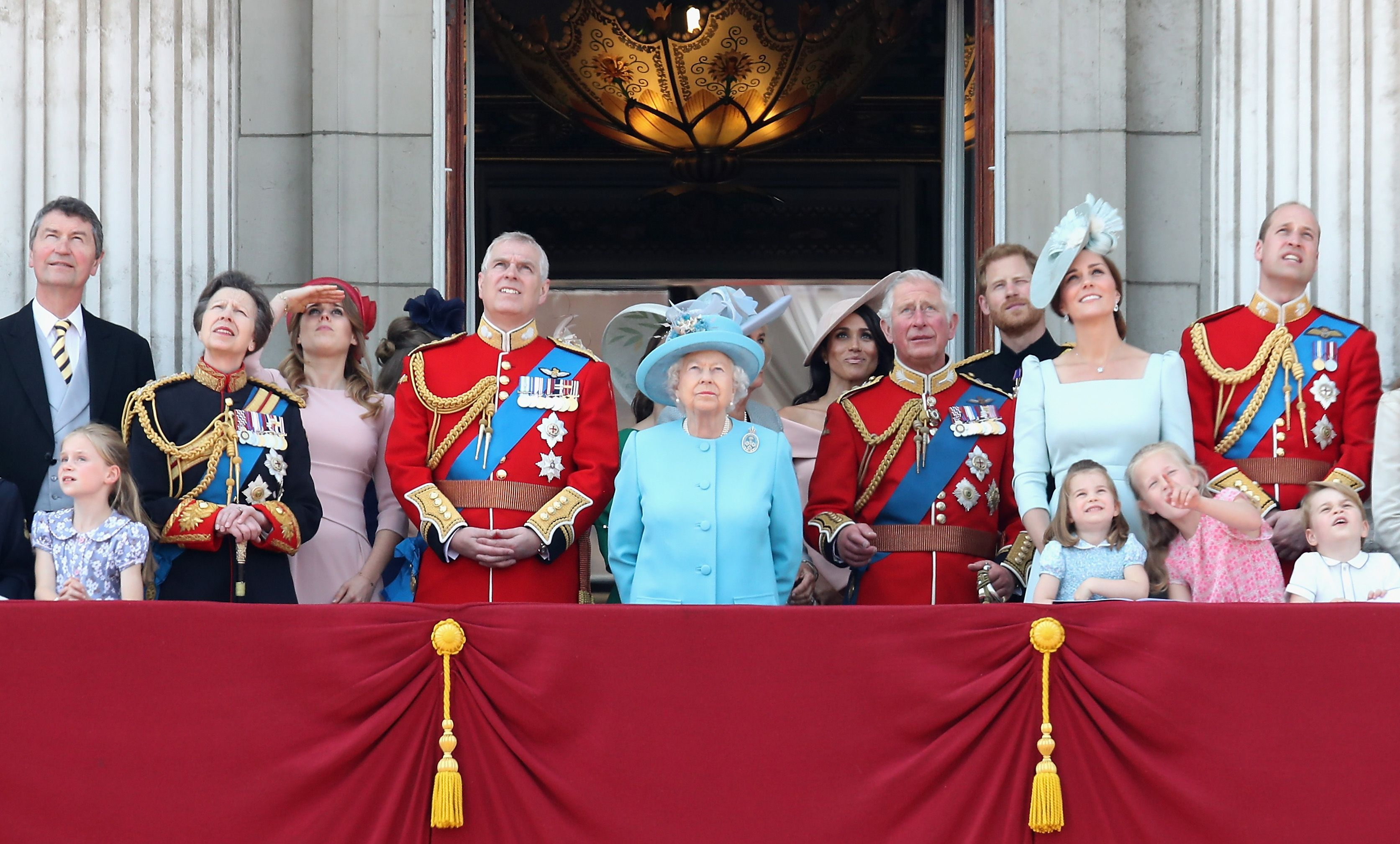 The royal family watch the flypast on the balcony of Buckingham Palace at Trooping The Colour on June 9, 2018 | Photo: Getty Images
