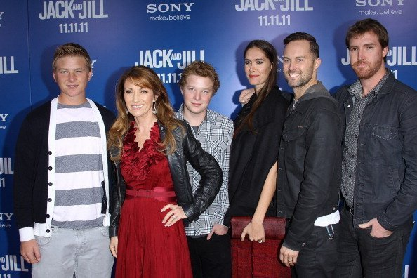 "Jane Seymour and her children at the Los Angeles premiere of ""Jack And Jill"" held at Regency Village Theatre on November 6, 2011 in Westwood, California. 