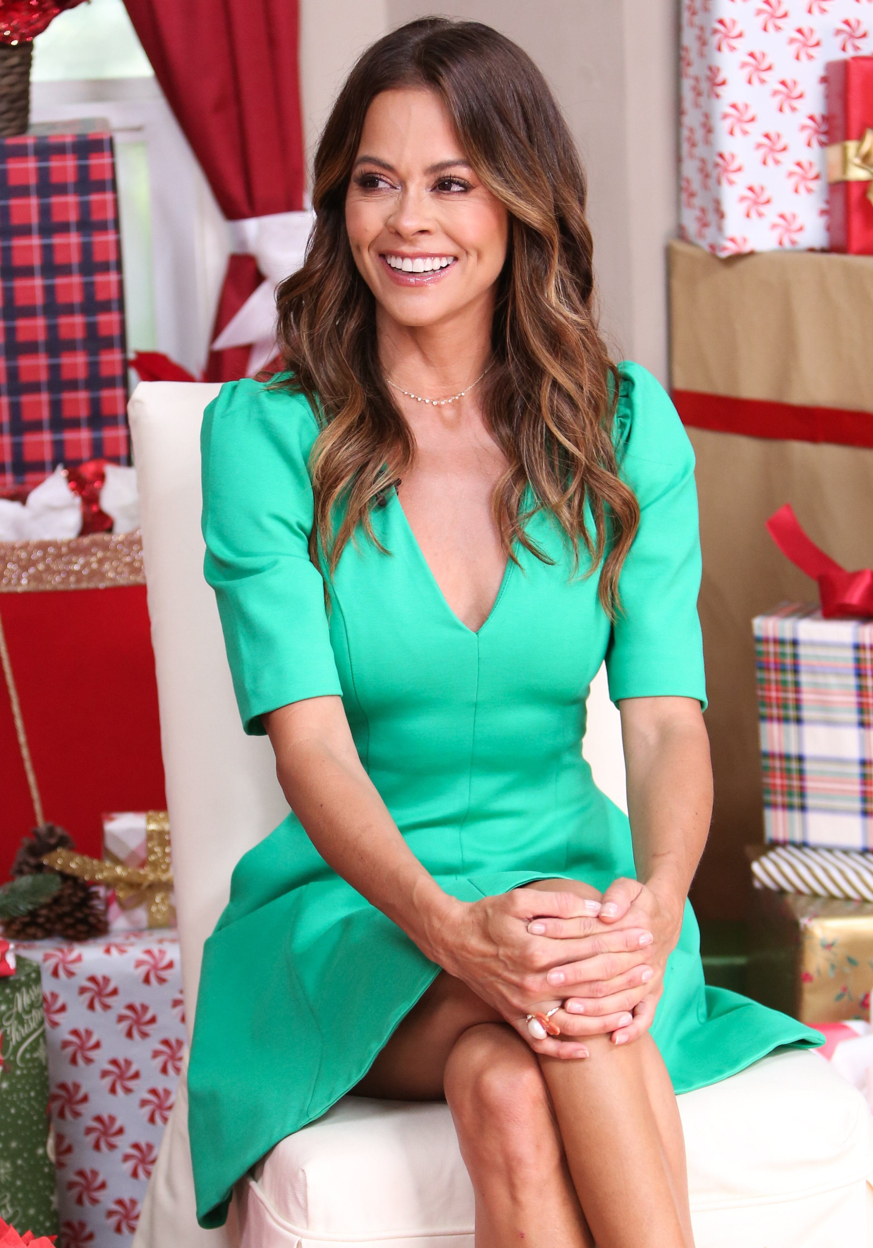"""Brooke Burke visits Hallmark's """"Home & Family"""" at Universal Studios Hollywood on July 09, 2019 in Universal City, California 