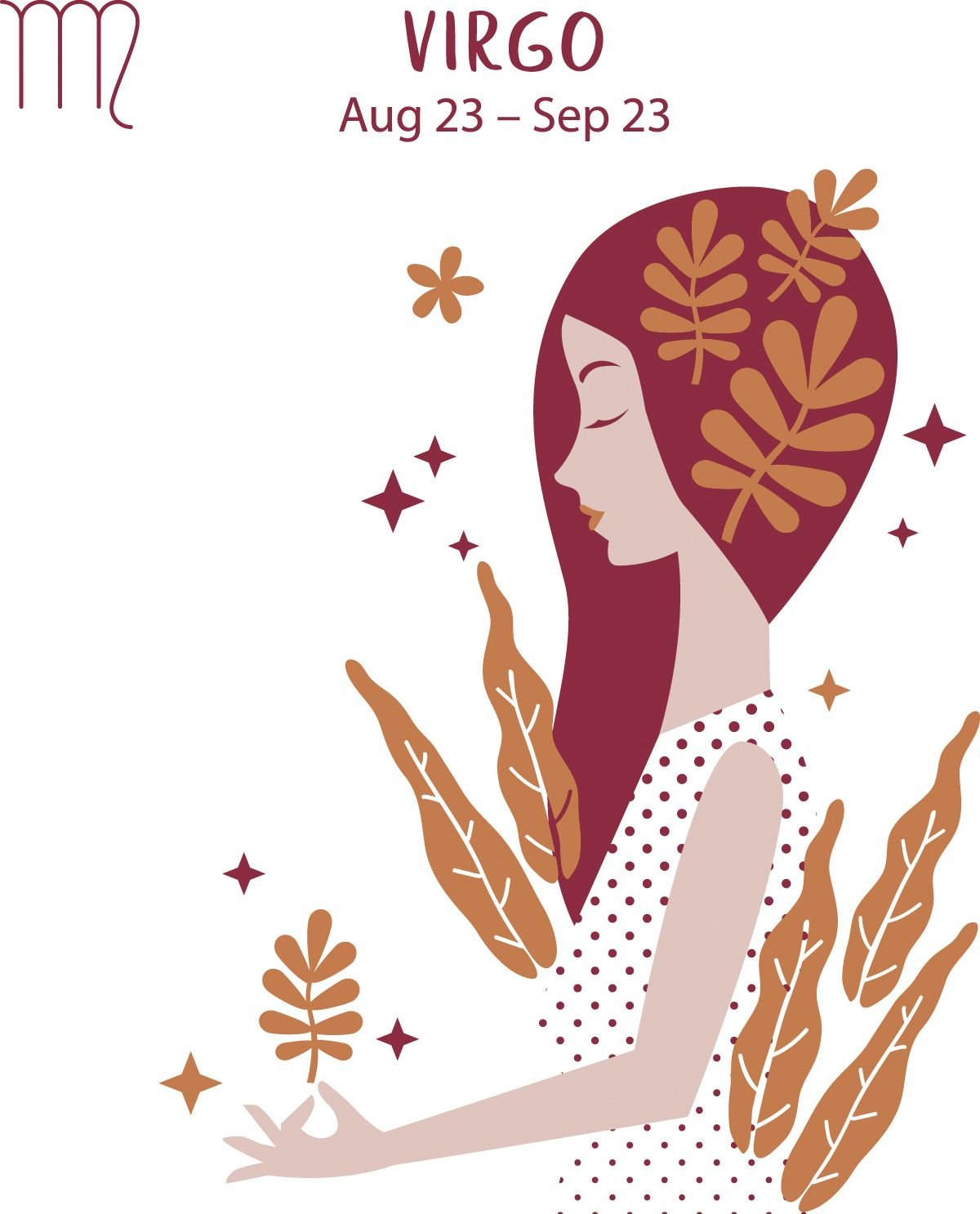 Virgo (Aug 23 - Sep 23) represented by a woman surrounded by greenery.