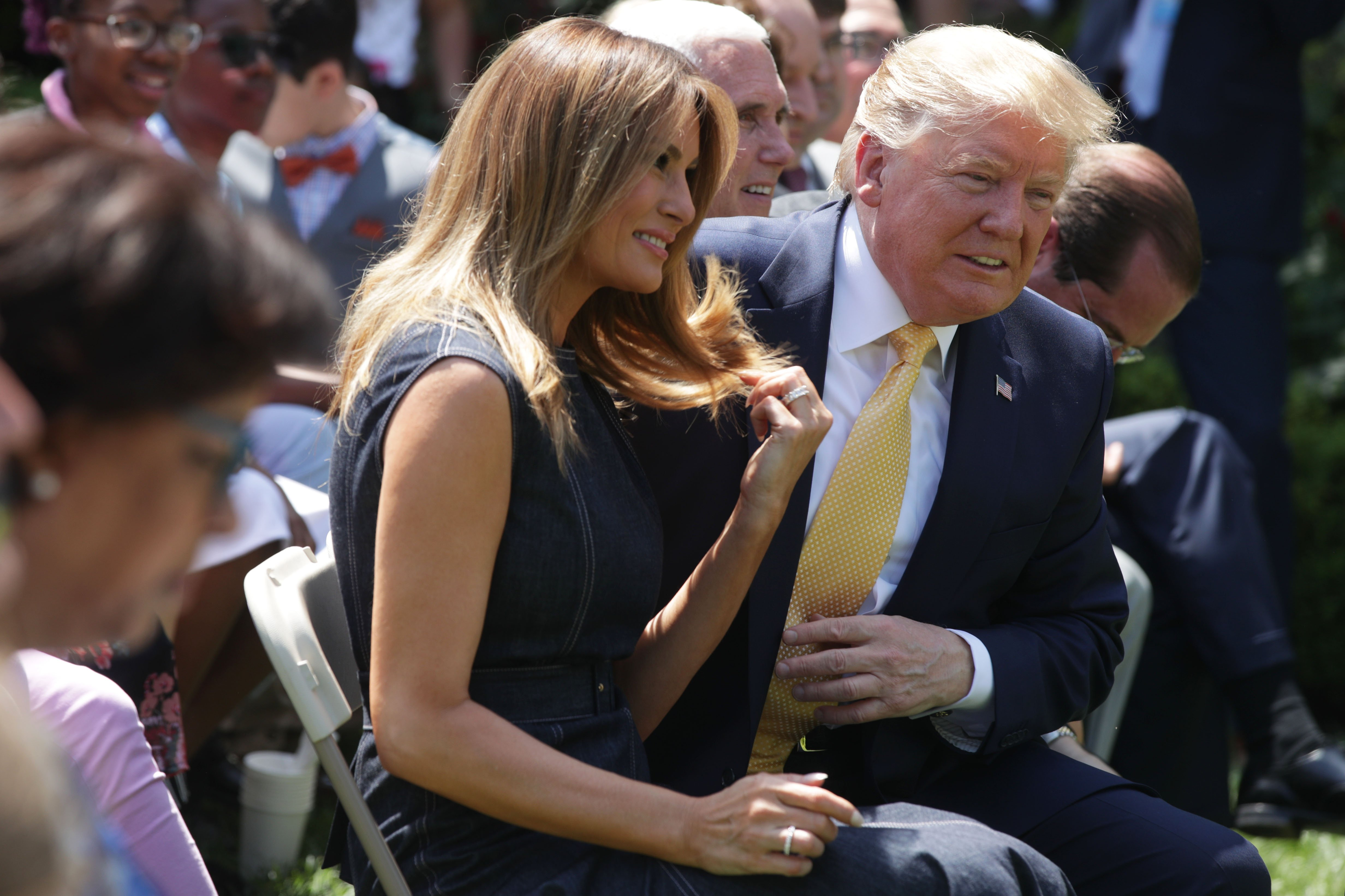 Donald Trump and Melania Trump at a Rose Garden event to celebrate the first birthday of the Be Best campaign | Photo: Getty Images