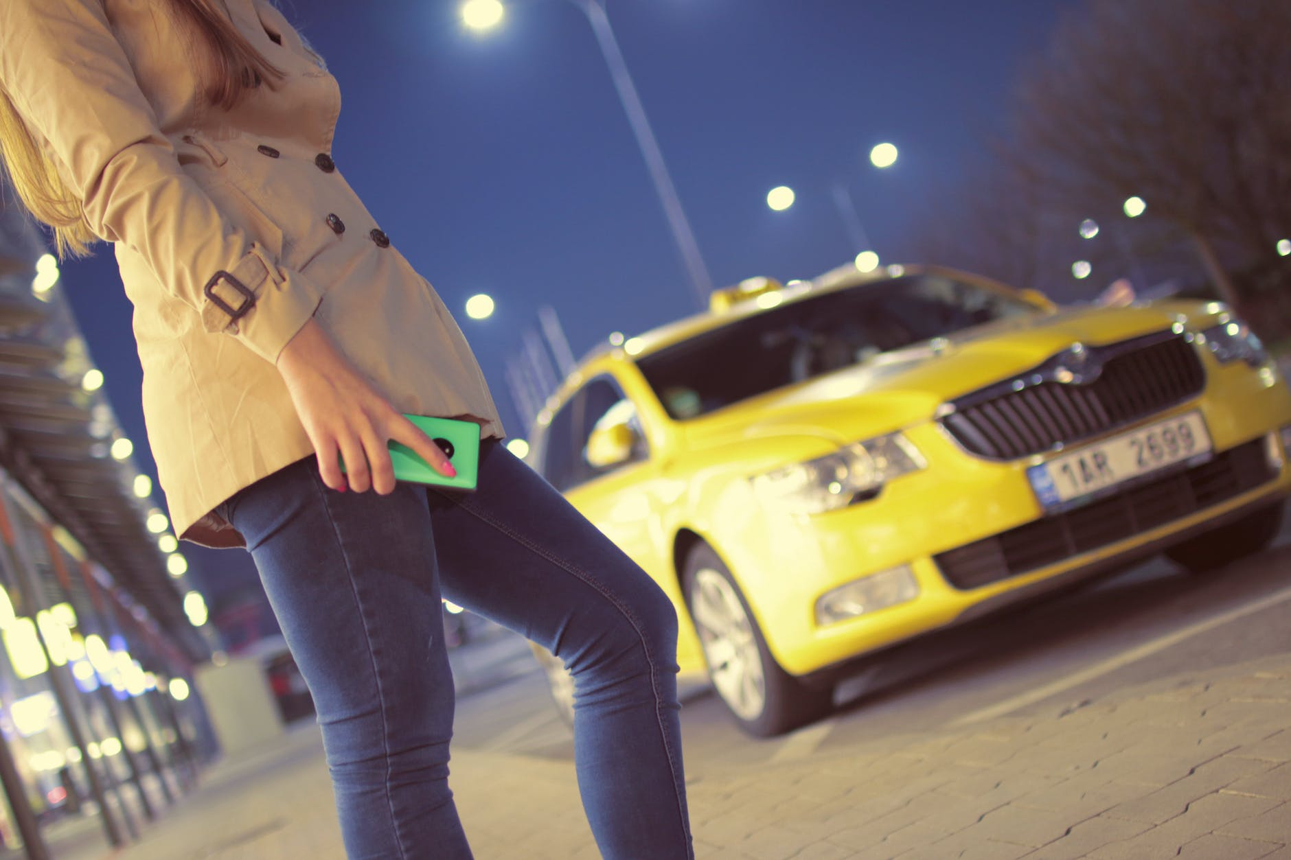 She took a taxi and left.   Source: Pexels