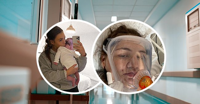 Kelsie Routs while hospitalized due to COVID-19.   Source: Shutterstock and Facebook.com/KelsieRouts