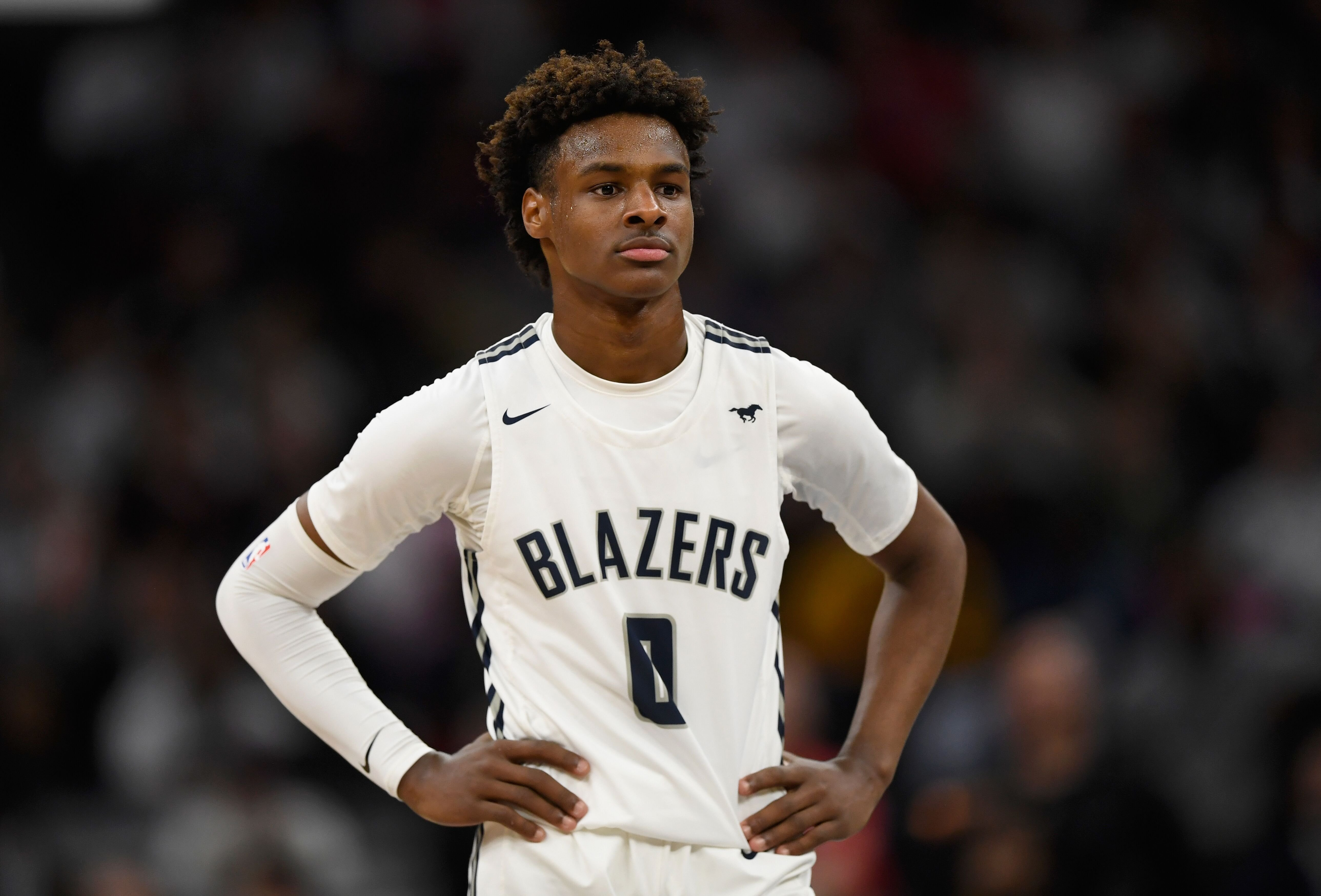 A portrait of Bronny James at a Sierra Canyon High School basketball game | Source: Getty Images/GlobalImagesUkraine