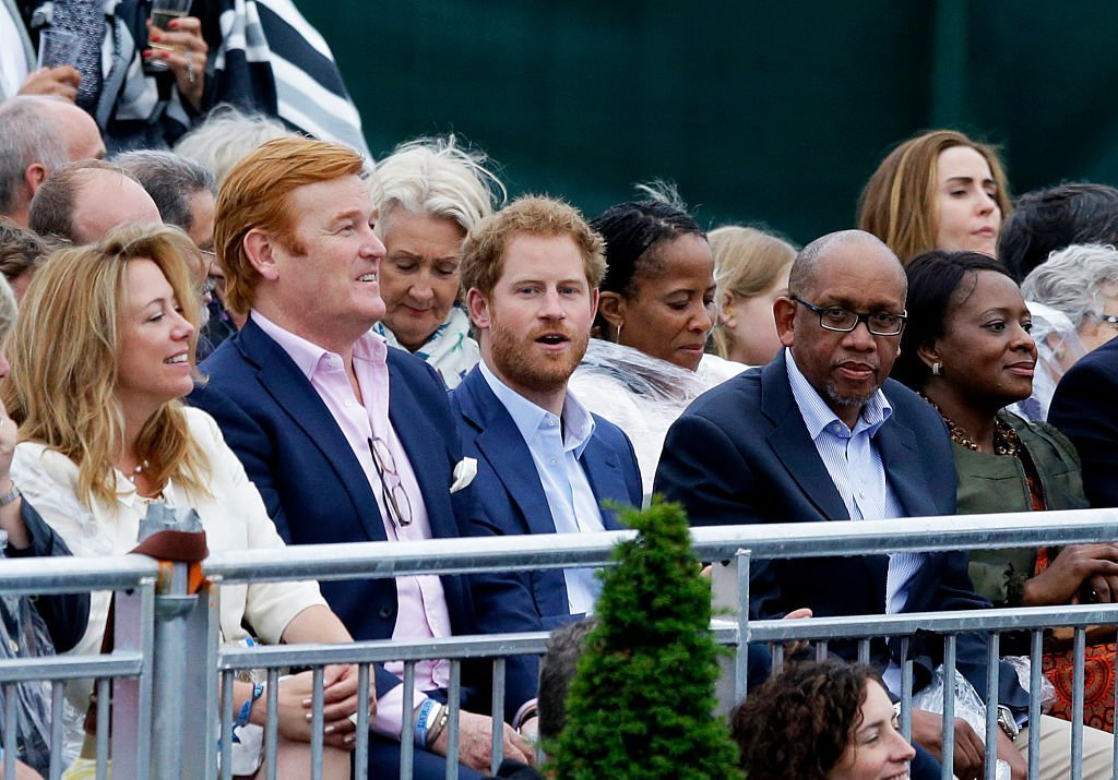 Mark Dyer (L), Prince Harry (C) and Prince Seeiso of Lesotho (R) attend the Sentebale Concert at Kensington Palace on June 28, 2016 | Photo: GettyImages
