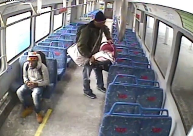 CCTV Footage- Father leaves baby on train/ Source: YouTube/ Associated Press