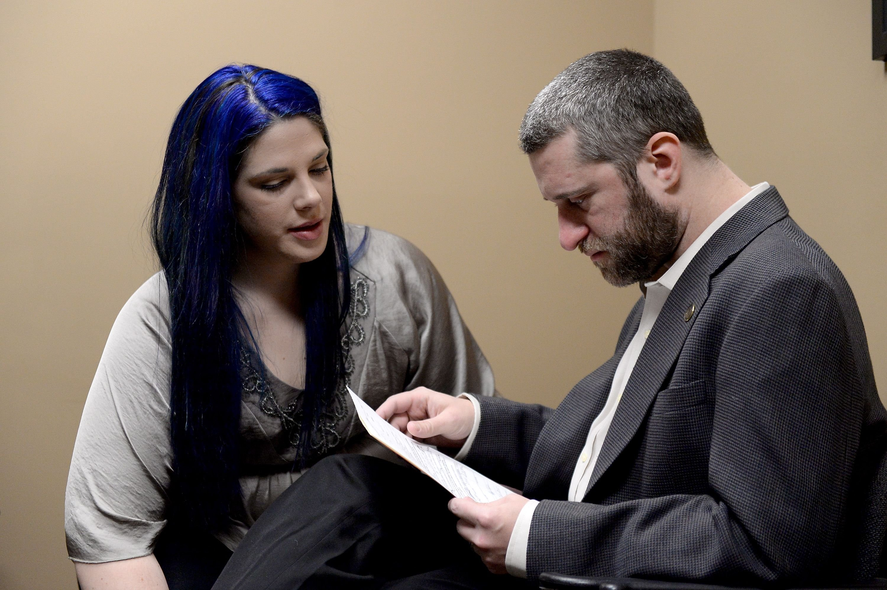 Dustin Diamond and Amanda Schutz at their arraignment at Ozaukee County Courthouse in January 2015 in Port Washington, Wisconsin   Source: Getty Images