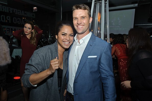 "Monica Raymund and Jesse Spencer attend the One Chicago party during NBC's ""One Chicago"" press day on October 30, 2017 in Chicago, Illinois 