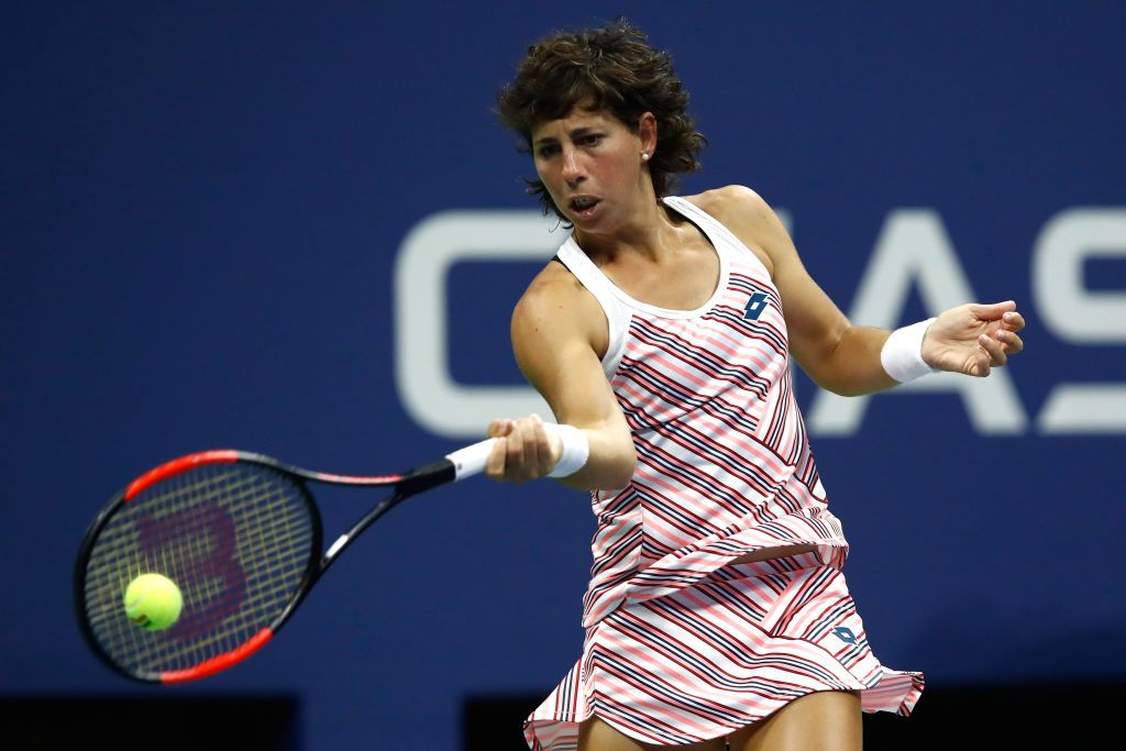 Carla Suarez Navarro playing on Day Ten of the 2018 US Open at the USTA Billie Jean King National Tennis Center on September 5, 2018. | Getty Images