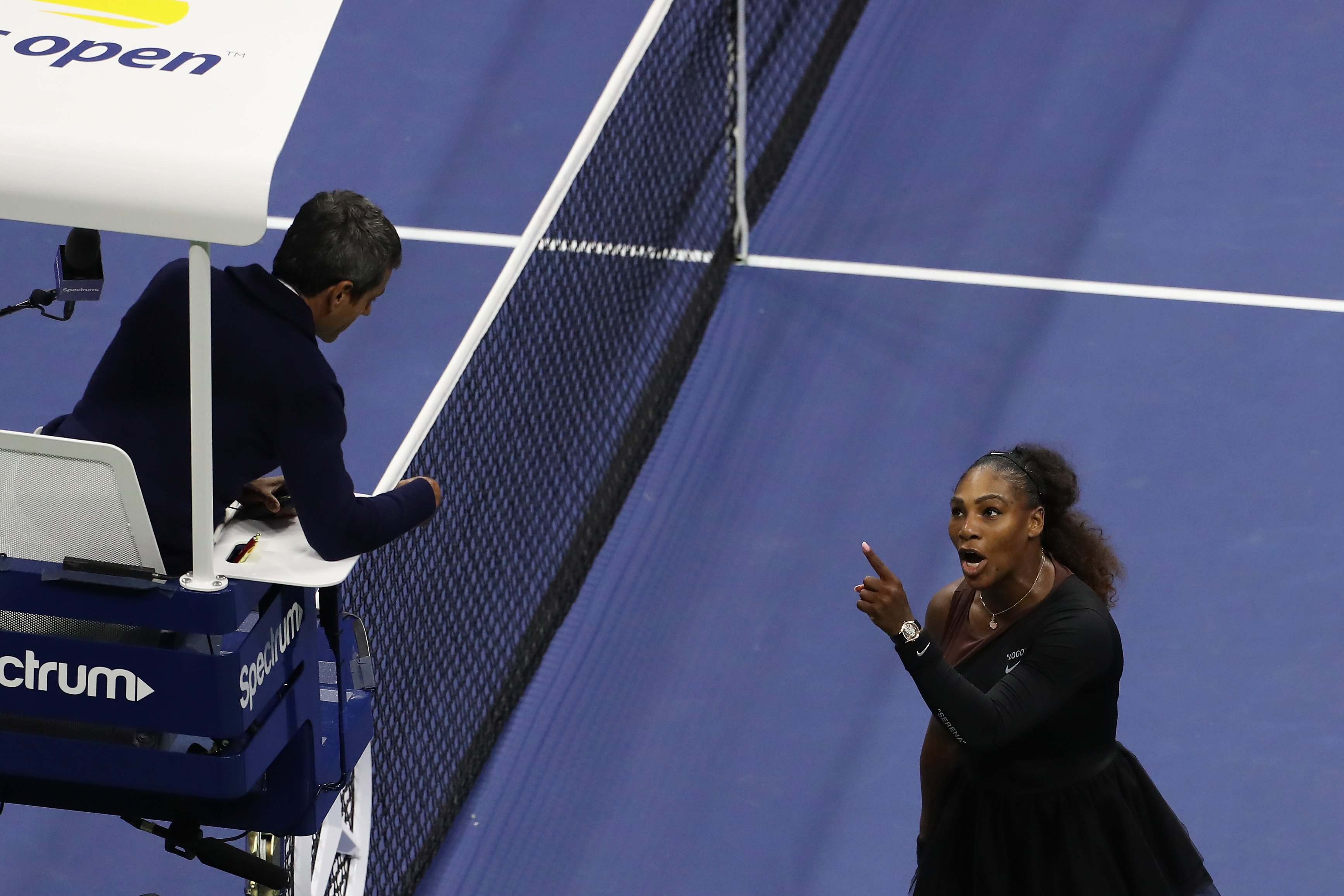 Serena Williams debates with the chair umpire Carlos Ramos during US Open 2018 women's final match on Sept. 8, 2018 in New York.  Photo: Getty Images