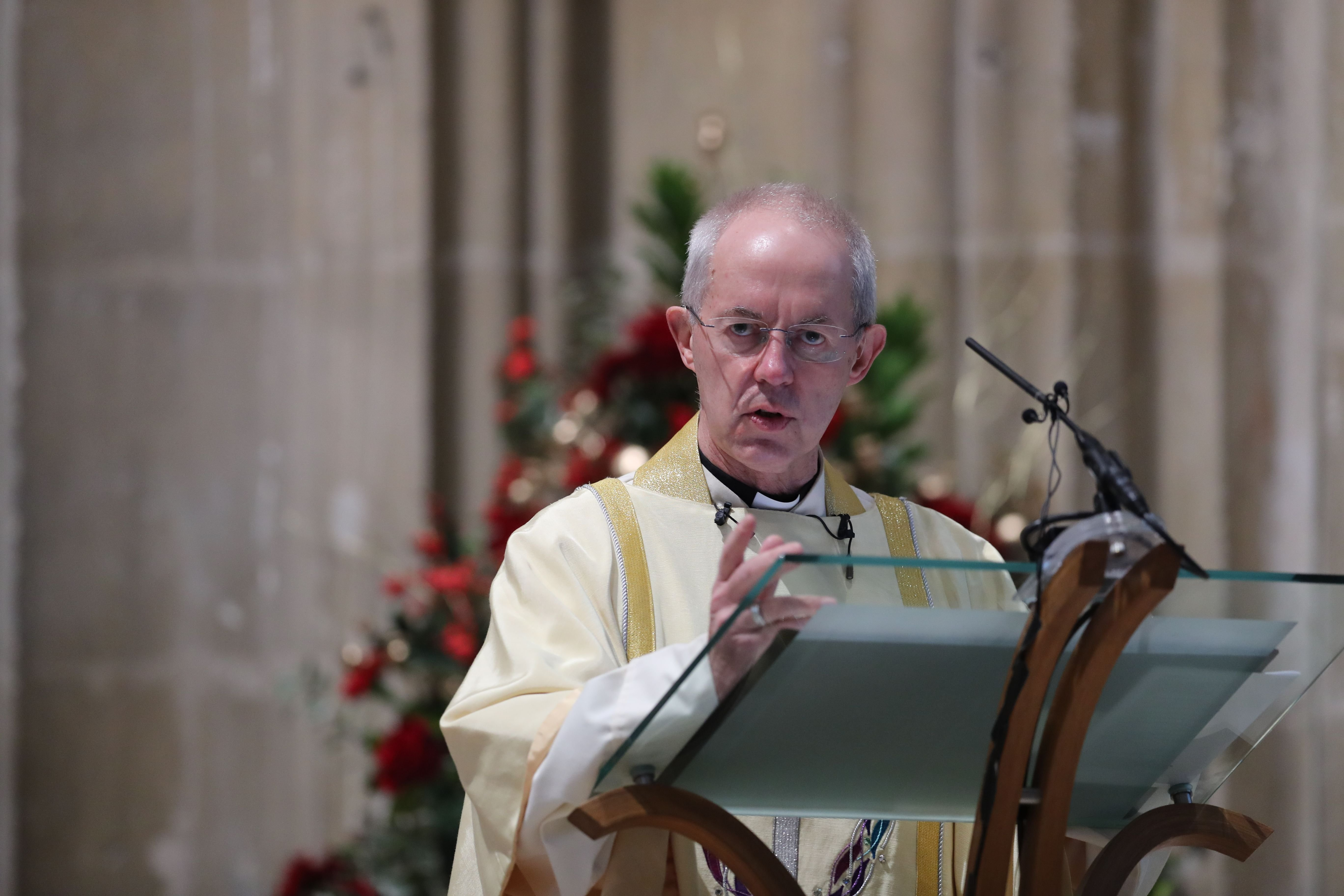 The Archbishop of Canterbury Justin Welby at the Christmas Day service at Canterbury Cathedral in Kent. | Source: Getty Images