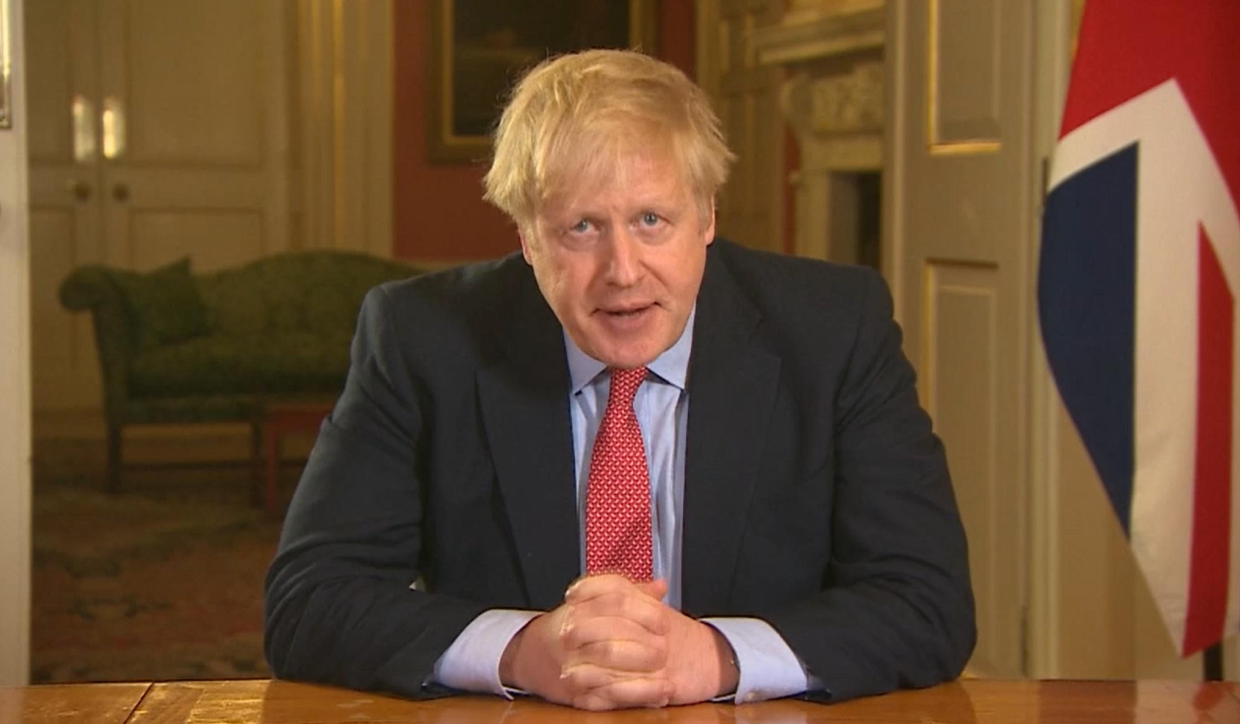 Prime Minister Boris Johnson addressing the nation from 10 Downing Street, London, as he placed the UK on lockdown as the Government seeks to stop the spread of coronavirus (COVID-19). | Source: Getty Images.