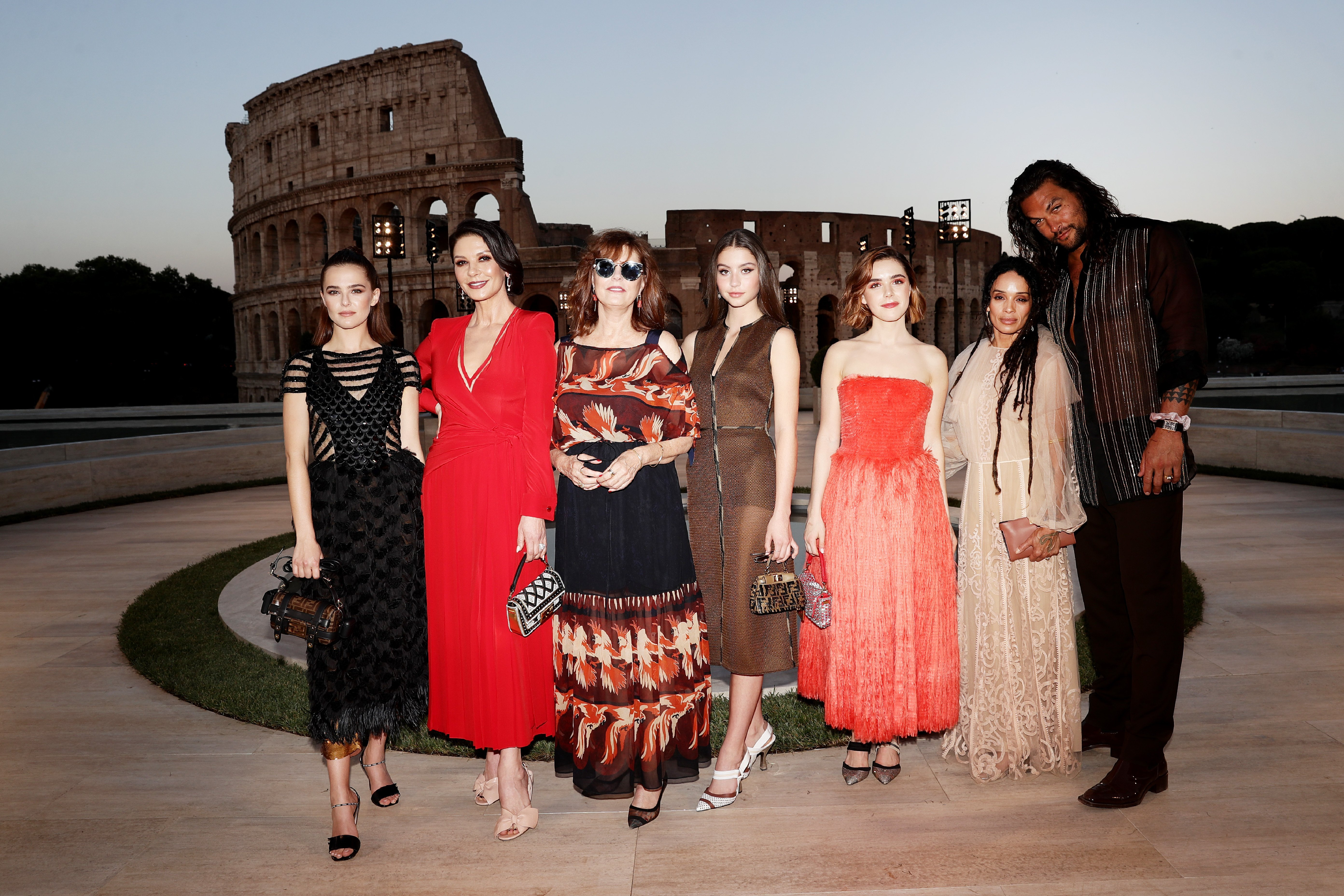 Catherine Zeta-Jones with her daughter Carys, Zoey Deutch, Susan Sarandon, Kiernan Shipka, Lisa Bonet and Jason Momoa at the Cocktail at Fendi Couture Fall Winter 2019/2020 in Rome, Italy   Photo: Getty Images