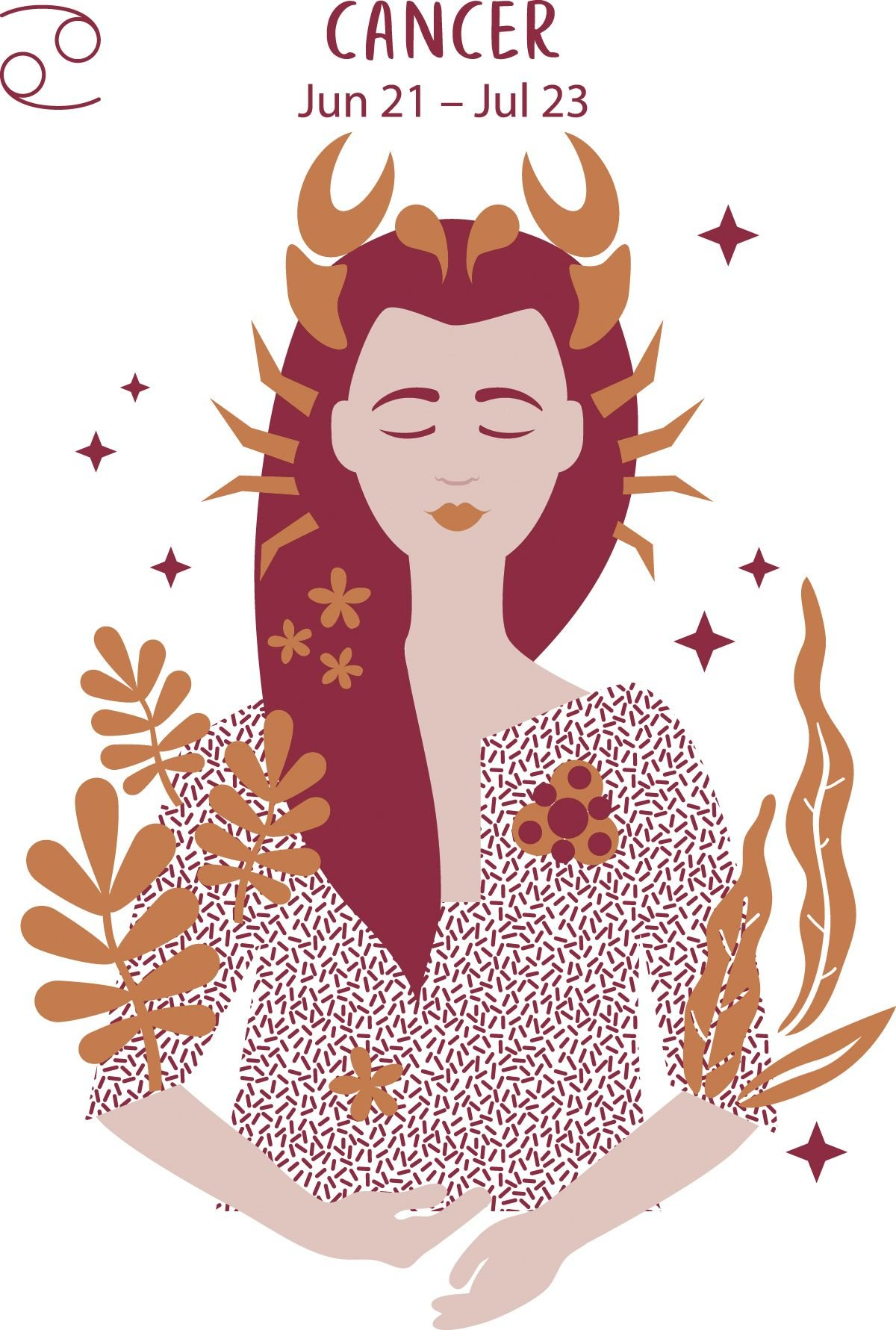 Gemini (June 21 - July 23) represented by a woman with a crab-inspired crown.