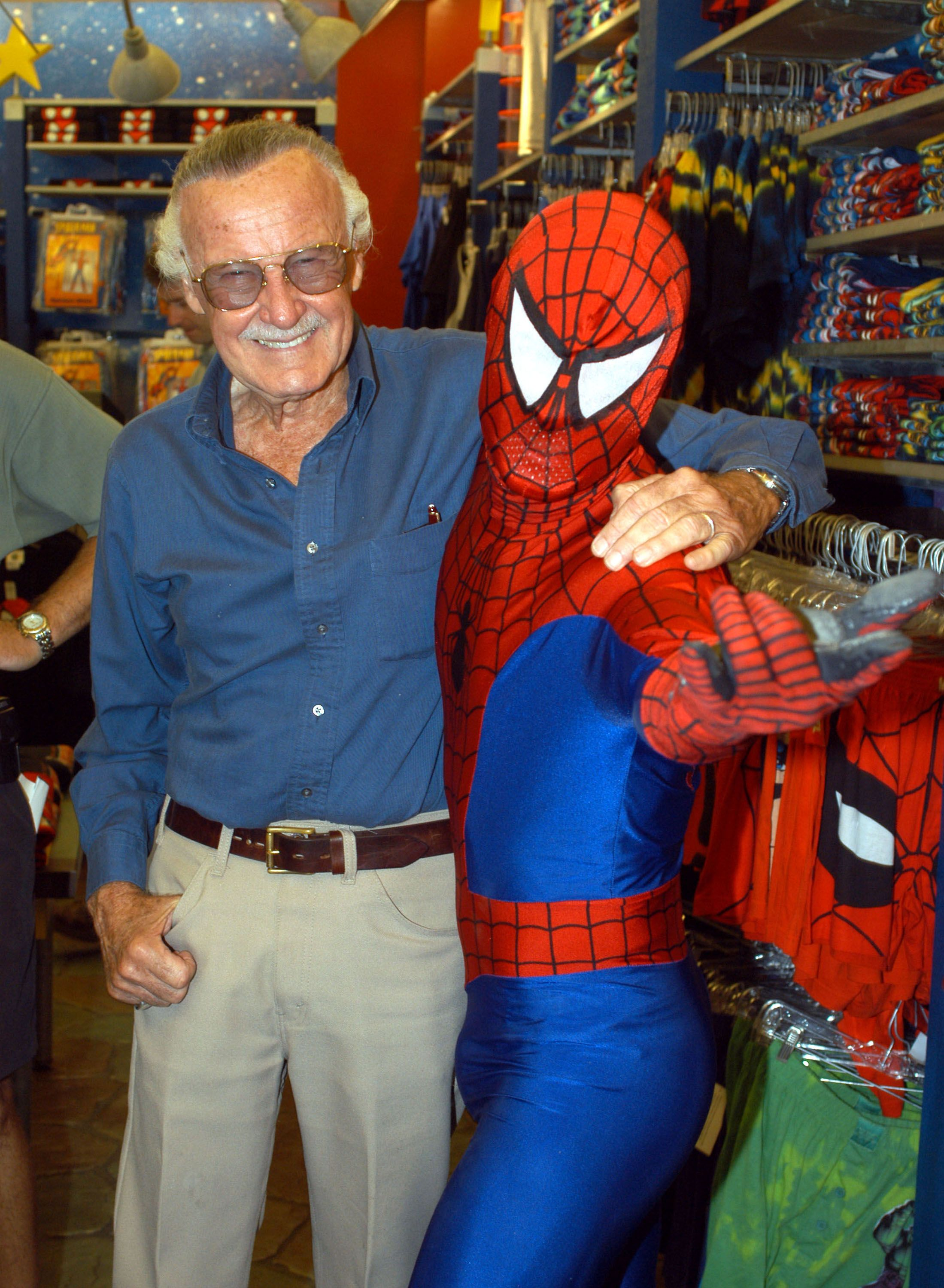 Stan Lee with Spider-Man during the Spider-Man 40th Birthday celebration at Universal Studios on August 13, 2002 in Universal City, California. | Source: Getty Images