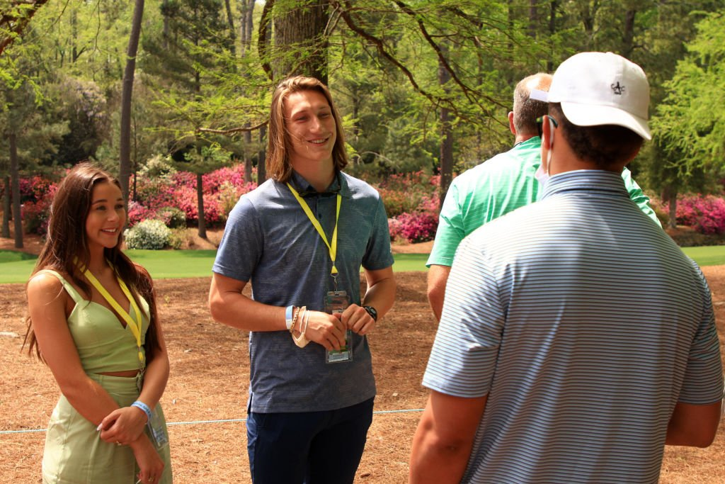 Former Clemson quarterback Trevor Lawrence (L) and his fiancé Marissa Mowry at Augusta National Golf Club on April 08, 2021 | Photo: Getty Images