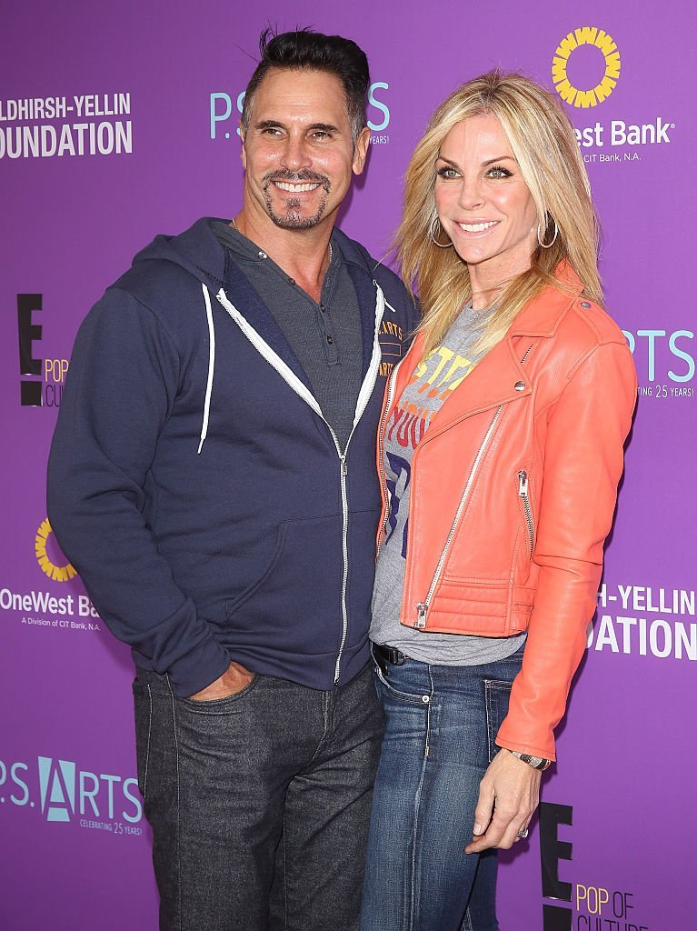 Don Diamont and wife Cindy Ambuehl arrive at the P.S. ARTS presents Express Yourself 2015 held at Barker Hangar on November 15, 2015 | Photo: Getty Images
