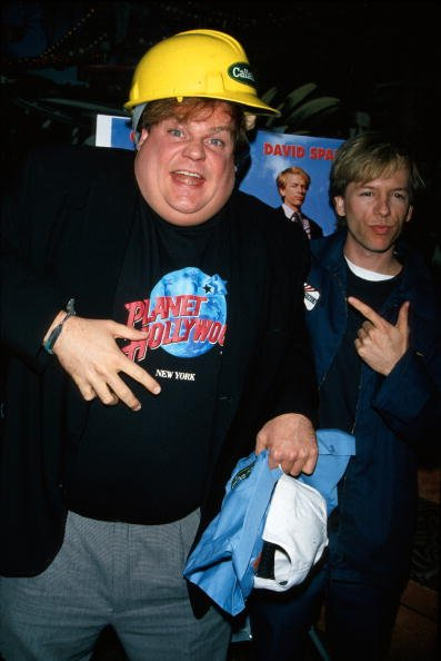 Chris Farley and David Spade at Planet Hollywood, undated image.   Photo: Getty Images
