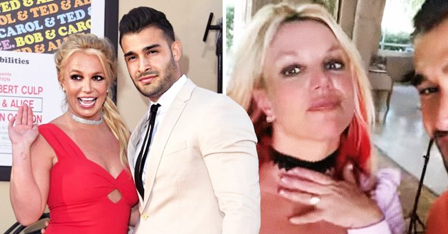 """Britney Spears and Sam Asghari at the premiere of """"Once Upon A Time...In Hollywood"""" at the Chinese Theatre on July 22, 2019, in Hollywood, California, and their engagement video announcement on September 12, 2021   Photos:Kevin Winter/Getty Images and instagram/britneyspears"""