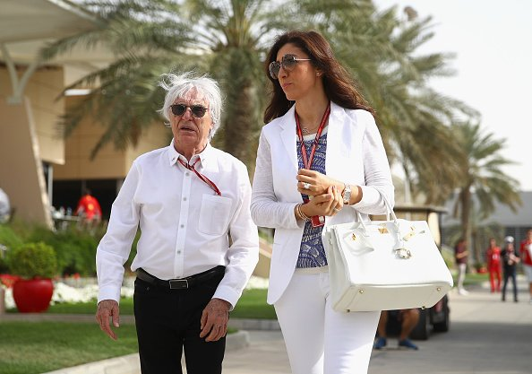 Bernie Ecclestone walks in the Paddock with wife Fabiana before the Bahrain Formula One Grand Prix at Bahrain International Circuit on April 8, 2018 in Bahrain, Bahrain   Photo: Getty Images