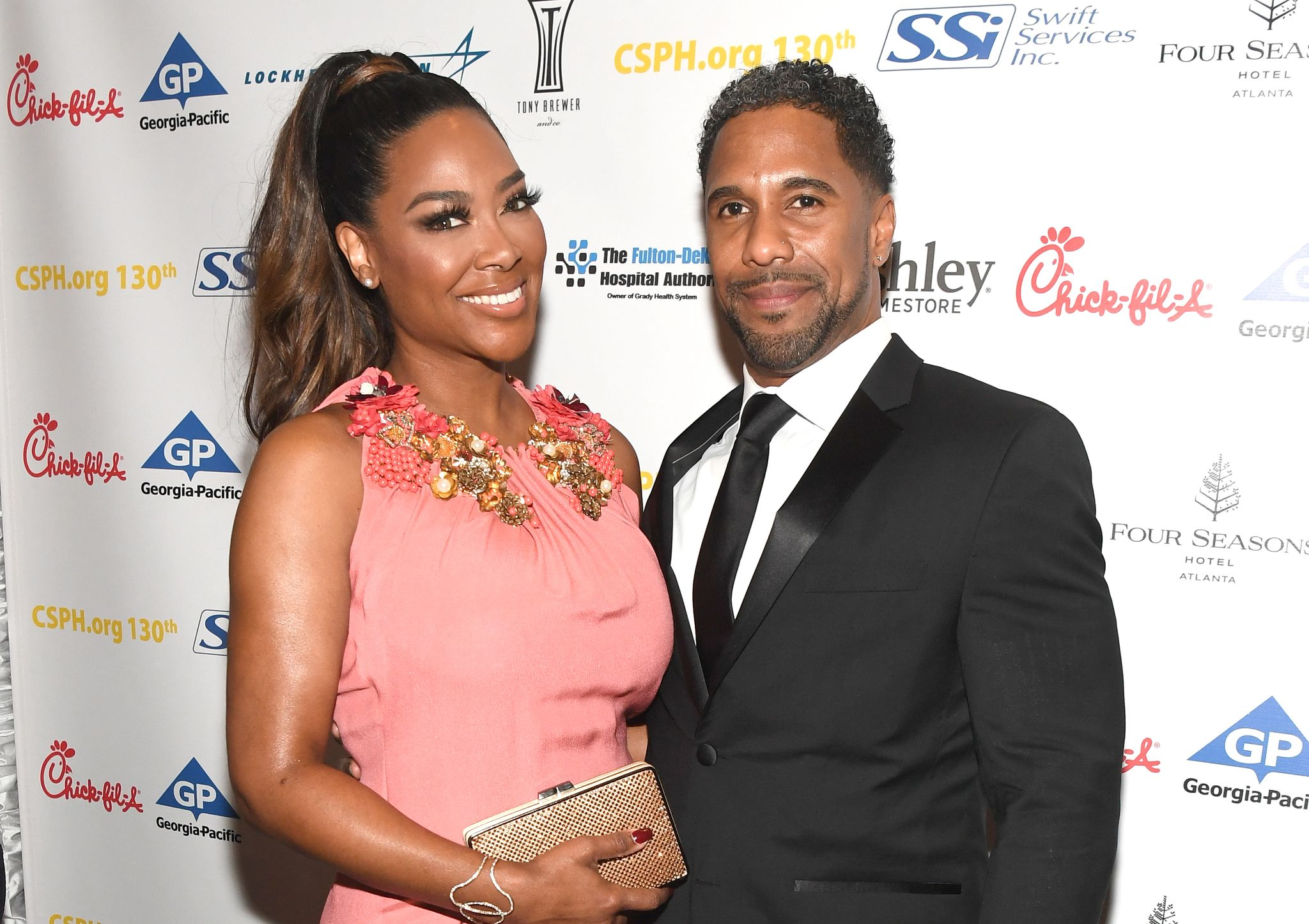 Kenya Moore and Marc Daly at Carrie Steele-Pitts Home 130th Anniversary Gala 2018, Atlanta, Georgia.   Source: Getty Images