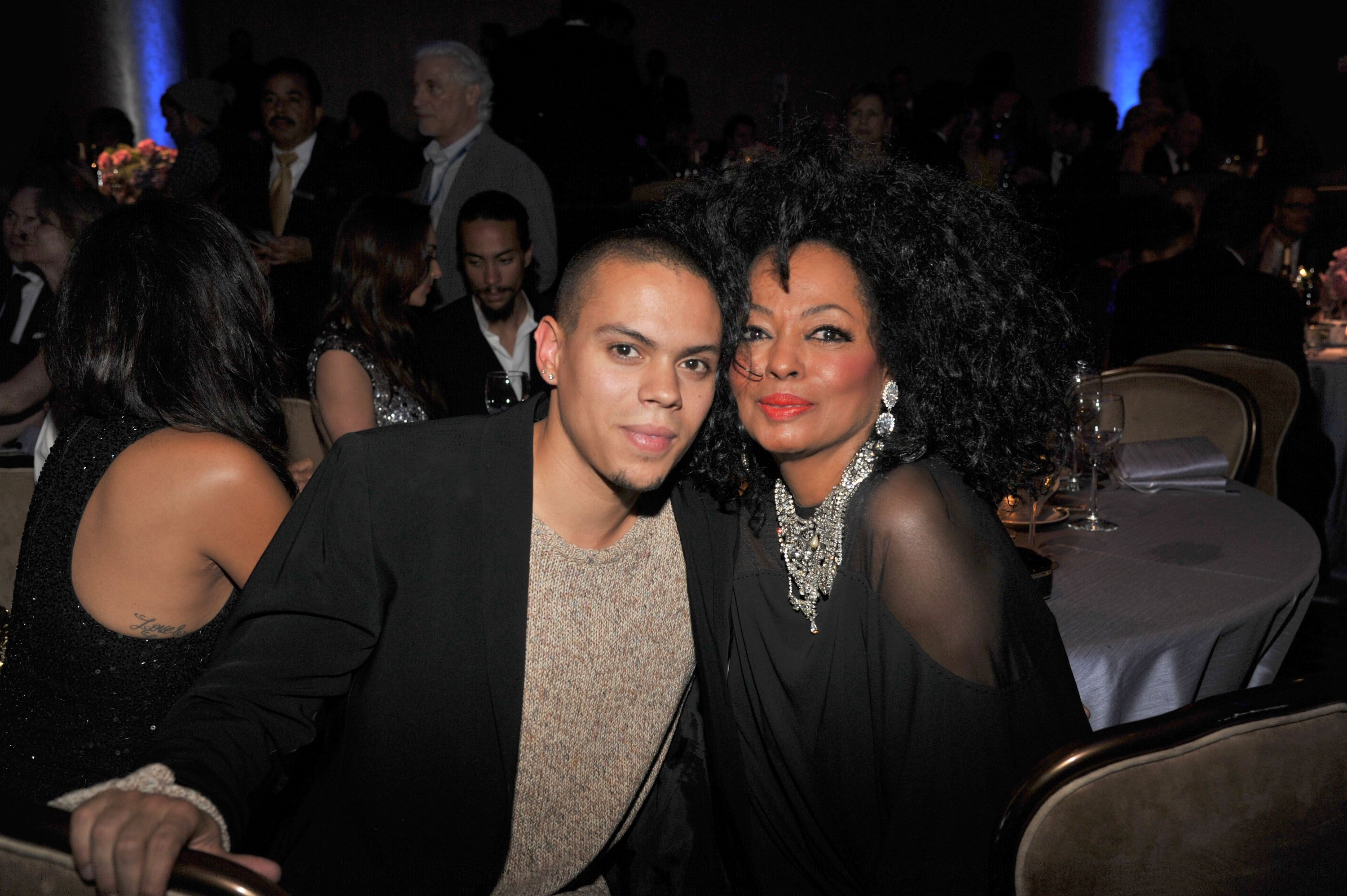 Evan Ross and Diana Ross during the Clive Davis and The Recording Academy's 2012 Pre-Grammy Gala and Salute to Industry Icons Honoring Richard Branson at The Beverly Hilton on February 11, 2012 in Beverly Hills, California. | Source: Getty Image